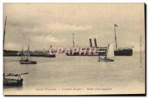 Postcard Old Saintt Nazaire L & # 39entree port liner output Charter