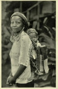 indonesia, BORNEO KALIMANTAN, Dayak Woman & Child, Long Earlobes (1930s) Mission