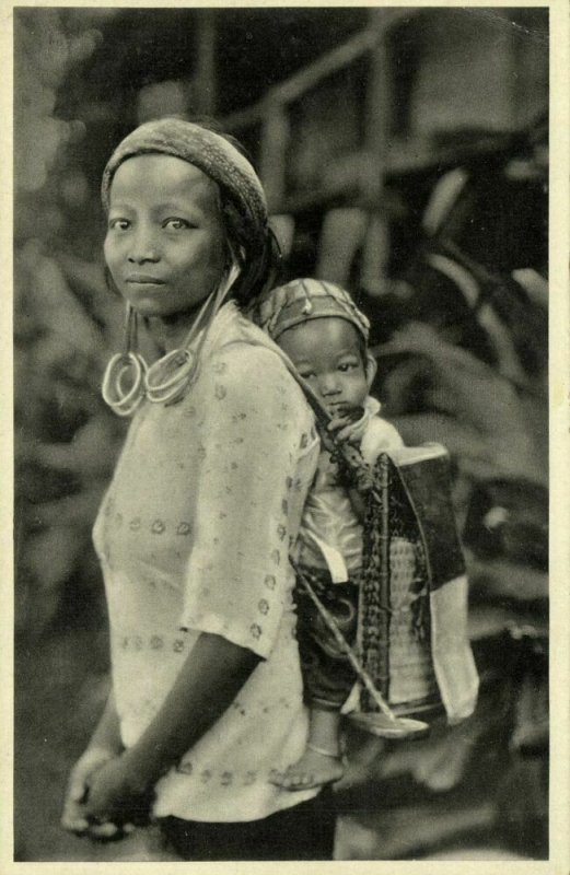 indonesia, BORNEO KALIMANTAN, Dayak Woman & Child, Long Earlobes (1930s) Mission