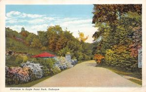 Dubuque Iowa~Eagle Point Park Entrance~Roadside Pillars~1929 Postcard