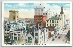 Jacksonville Florida~Skyscraper District from the Windsor Hotel~Street~1916 PC