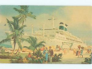 Pre-1980 BOAT SCENE The Grace Line Cruise Ship Boat AF3765