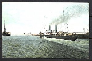 Steamer Leaving Ostende For The Channel Crossing in Color Postcard