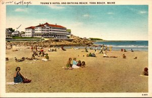 Maine York Beach Young's Hotel and bathing Beach 1950