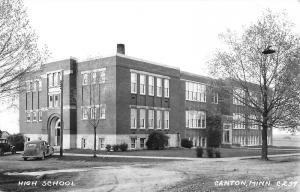 Canton Minnesota~Senior High School~1940s Cars~1950 Real Photo Postcard~RPPC