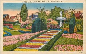 Providence RI~Roger Williams Park~Gates Ajar~Flowers~Fountain~Homes~1940s Linen