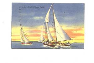 Two Boats Under Full Sail Off Sunny Florida, Webb's