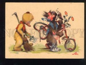 047253 Funny TEDDY BEAR as Bicyclist old Comic