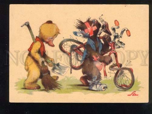 047253 Funny TEDDY BEAR as Bicyclist old Comic