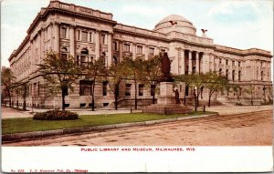 Milwaukee WI Public Library and Museum postcard Wisconsin 1910 POSTMARKED