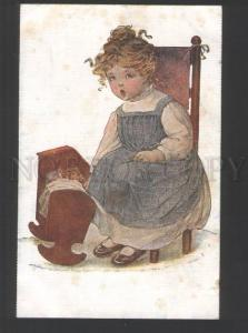 120409 Girl w/ DOLL by GRIMBALL Style GUTMANN vintage Russian
