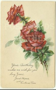 Red Rose Your Birthday... Early 1900s Gibson - Beautiful Vintage Postcard