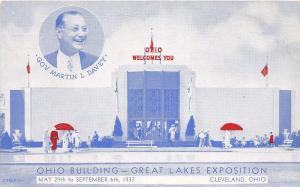 C26/ Cleveland Ohio Postcard 1930s Great Lake Expo Davey Governor Ohio Building