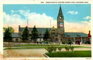 Cheyenne, Wyoming - The Union Pacific Railway Station, Street Side - c1920