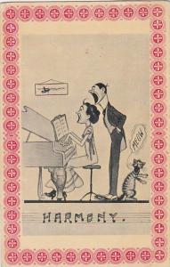 Humour Couple Playing Piano and Singing Harmony 1912
