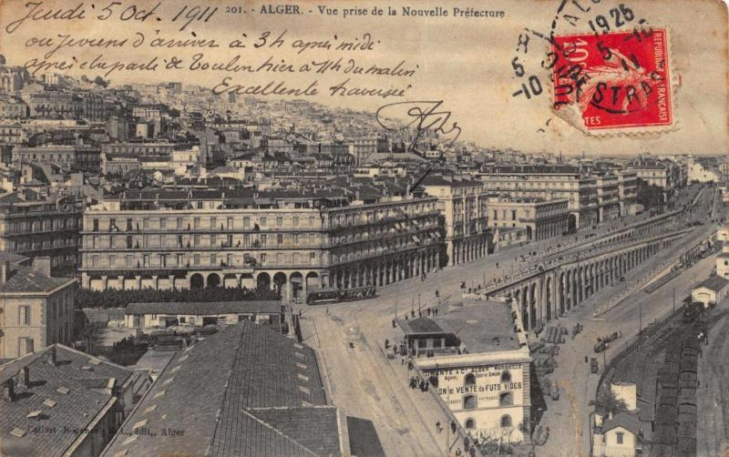 Vintage 1911 Postcard ALGER Algeria General View and Railway Station