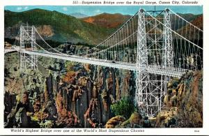 Colorado Canon City Suspension Bridge Over The Royal Gorge