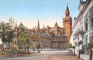 Spain Old Vintage Antique Post Card La Catedral y El Triunfo Sevilla Unused