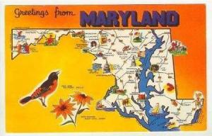 Map, Greetings From Maryland, 1940-60s