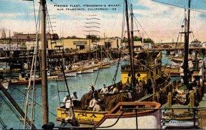 California San Francisco Fisherman's Wharf The Fishing Fleet 1945
