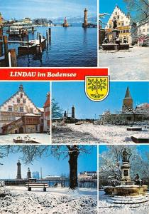 Lindau im Bodensee, Boat Lighthouse Lion Statue Pension Statue Town Hall Winter