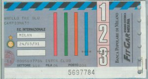 C0183 - Vecchio  BIGLIETTO PARTITA  CALCIO - 1990/ 1991 : INTER - MILAN