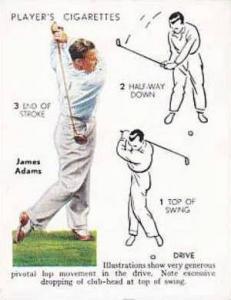 Player Vintage Cigarette Card Golf 1939 No 1 Drive James Adams
