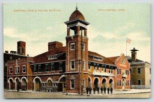Burlington Iowa~Central Fire & Police Station~Officers Outside~c1910 Postcard