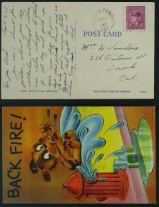 Rideau Ferry open circle pmk humourous Dog PC 1947 o