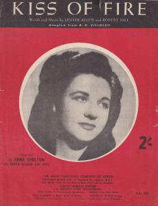 Kiss Of Fire Anne Shelton 1950s Sheet Music