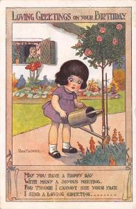 Reg Maurice~Lil Girl in Flower Garden~Watering Can~Regent Series~Art Deco 1921
