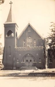 Albia IA Real Photo Postcard Portrait of Catholic Church~Big Bell! RPPC c1937