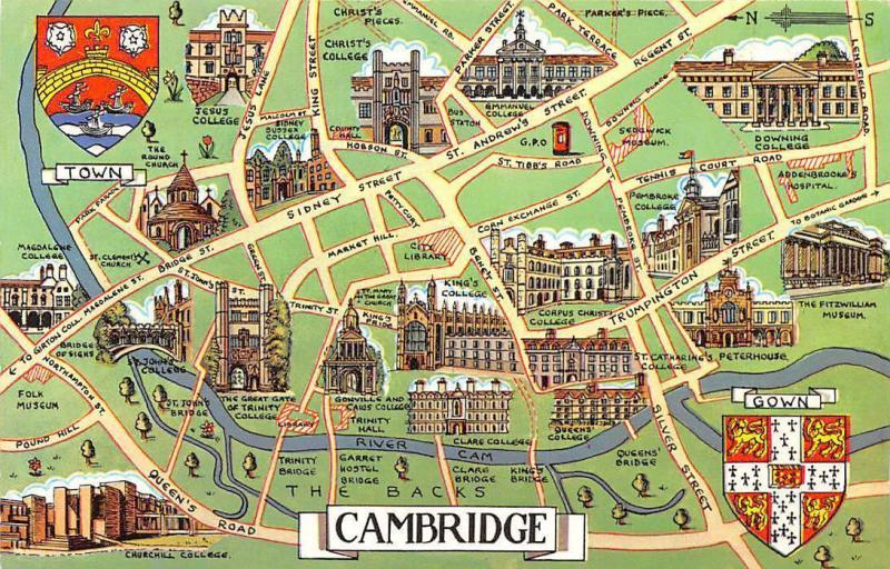 Cambridge College Map Cambridge Map The Backs St Andrew's Street Emmanuel College