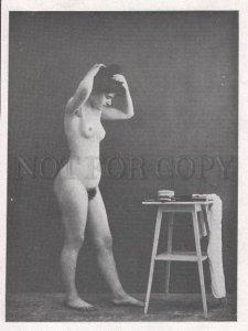 092719 ART NOUVEAU FRENCH NUDE RISQUE GIRL long hair Vintage