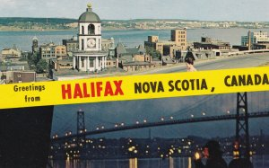HALIFAX, Nova Scotia, Canada, 1950-1960s; View From The Citadel, Night View O...