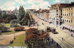 Christiania Norway Carl Johan's Street Antique Postcard J80752
