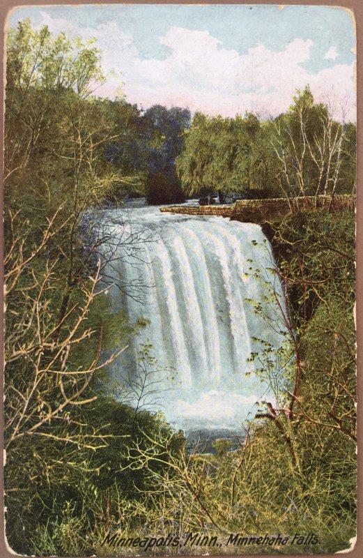 Vintage Postcard Minnehaha Falls Minneapolis Minnesota 1912