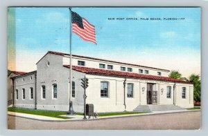 Palm Beach FL, New Post Office, Linen Florida Postcard