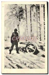 Modern Postcard Militaria An American soldier at a small German cannon
