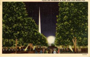 NY - New York World's Fair, 1939. Trylon & Perisphere at Night