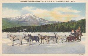LAKE PLACID, New York, 1930-1940's; Dog Team On Mirror Lake, Adirondack Mts.