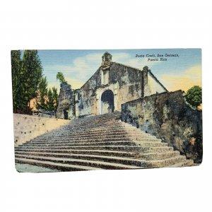 San German Puerto Rico Porta Coeli Linen Vintage Postcard