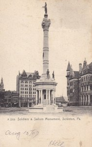 SCRATON, Pennsylvania, PU-1907; Soldiers & Sailors Monument