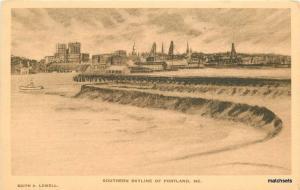 Artist Impression Southern Skyline Portland Maine Lowell Postcard 9940