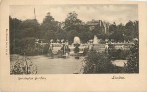 London UK~Fountains in Kensington Gardens~Wrench Series No 43~1910 B&W