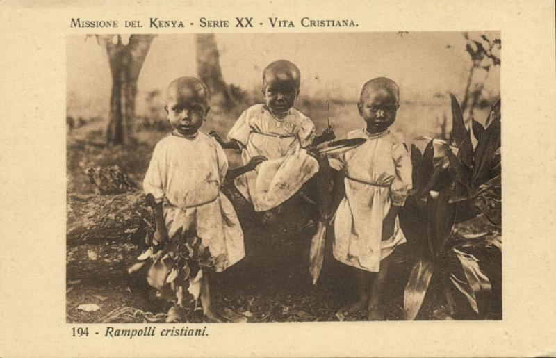 kenya, Rampolli Cristiani, Young Christians (1920s) Italian Mission Postcard
