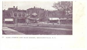 9569 NY Mechanicville   Park Avenue and Main St. showing  Trolley