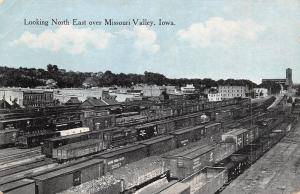 Missouri Valley Iowa~Railroad Yards~Full Box Cars~City Skyline~Elevator~1912 PC
