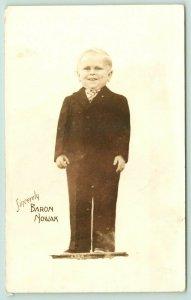 Baron Richard Nowak~Czech Circus Sideshow Midget~Suit & Tie~19 years~c1940 RPPC