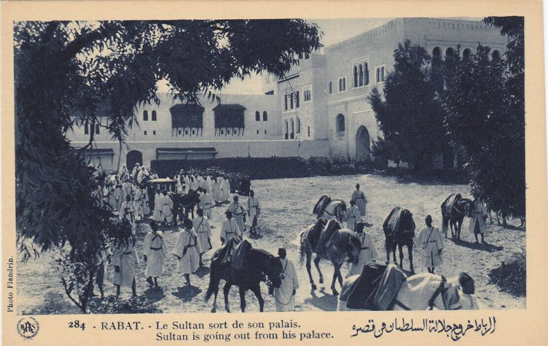 RABAT (Maroc), Morocco, 10-30s; Sultan is going out from his palace, horses